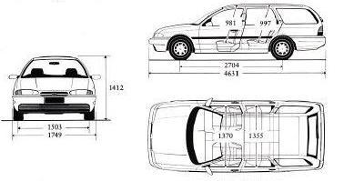 Tylko na zewnątrz Ford Mondeo I Kombi • Dane techniczne • AutoCentrum.pl OG97