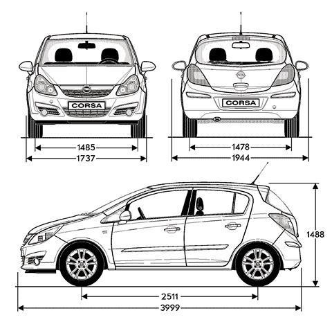 Szkic Techniczny Opel Corsa D Hatchback