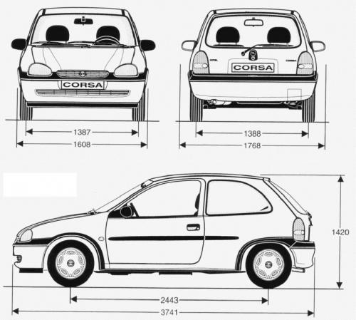 Szkic Techniczny Opel Corsa B Hatchback