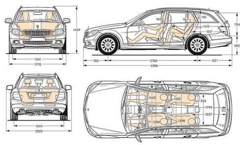 mercedes klasa c w204 kombi t204 dane techniczne. Black Bedroom Furniture Sets. Home Design Ideas