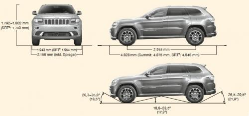 Szkic techniczny Jeep Grand Cherokee IV Terenowy Facelifting