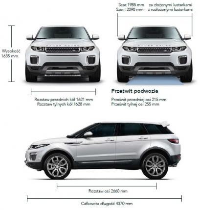 Szkic techniczny Land Rover Range Rover Evoque SUV 5d Facelifting