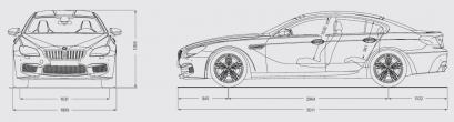 Szkic techniczny BMW Seria 6 F06-F12-F13 M6 Gran Coupe Facelifting