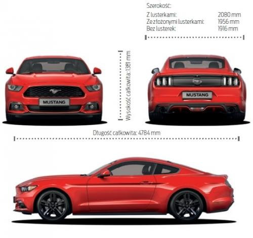 Szkic techniczny Ford Mustang VI Fastback