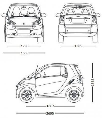 Szkic techniczny Smart Fortwo II Coupe Facelifting