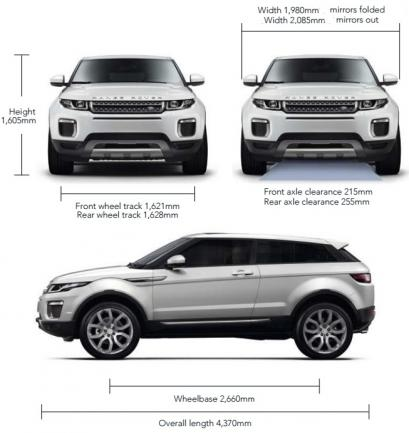 Szkic techniczny Land Rover Range Rover Evoque SUV Coupe Facelifting