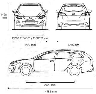 Szkic Techniczny Mazda 6 Ii Kombi