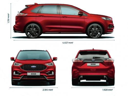 Szkic techniczny Ford Edge II SUV Facelifting