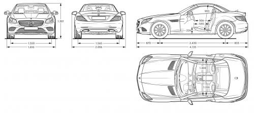 Szkic techniczny Mercedes SLC Roadster Facelifting