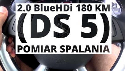 DS 5 2.0 BlueHDi 180 KM (AT) - pomiar spalania